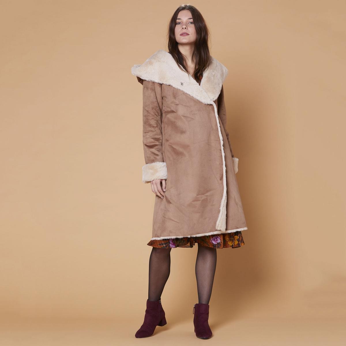 Пальто La Redoute Средней длины с капюшоном на меху Galabague M бежевый цены