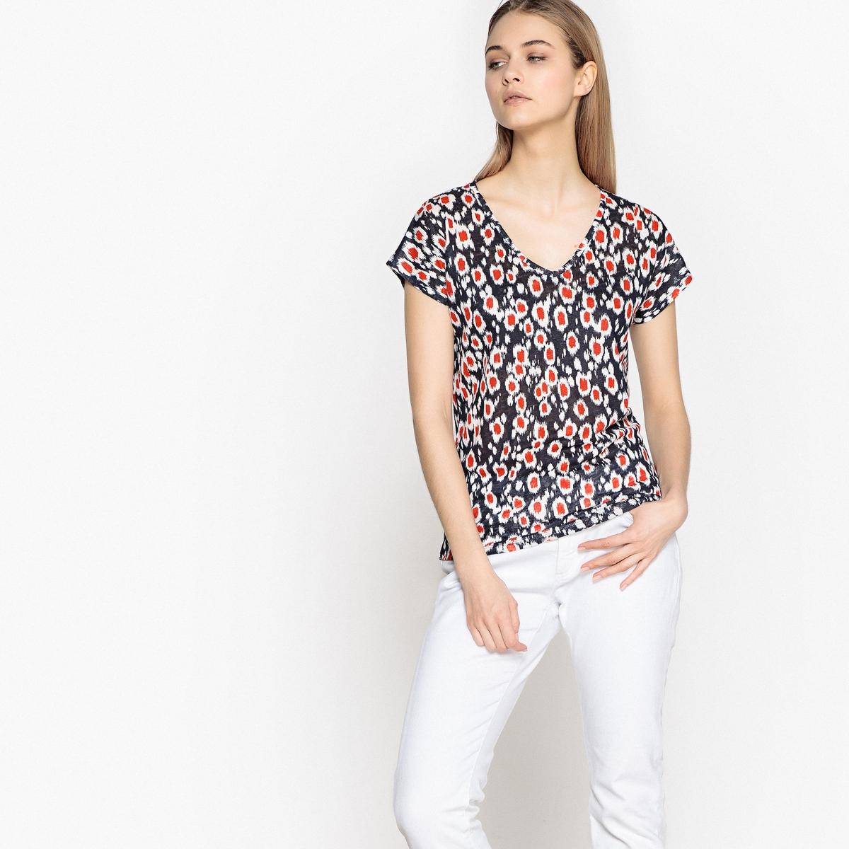 T-shirt estampada com decote em V, mangas curtas