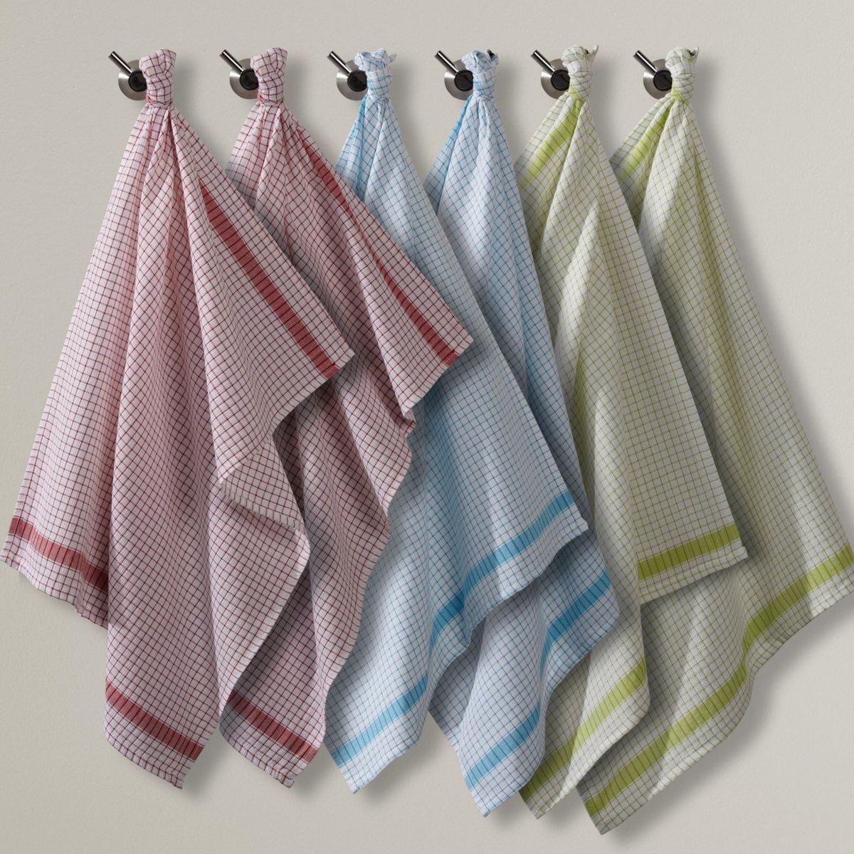 Полотенца кухонные из вафельной ткани в клетку (6 шт.)