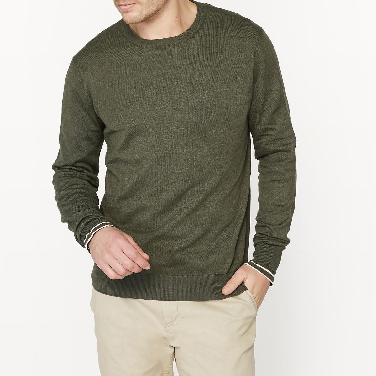 Пуловер с круглым вырезом из смесовой ткани из льна