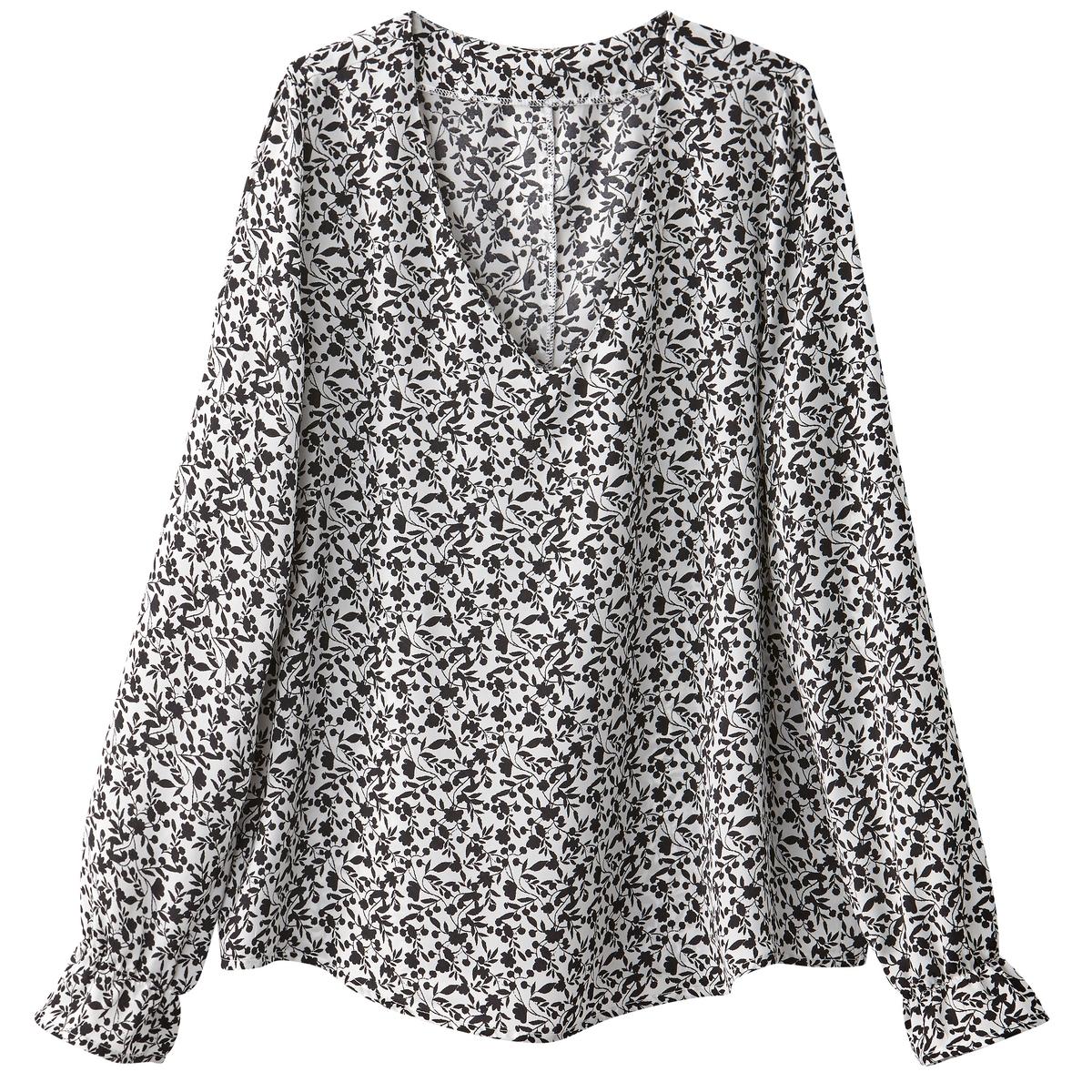 Блузка с V-образным вырезом, рисунком и длинными рукавами