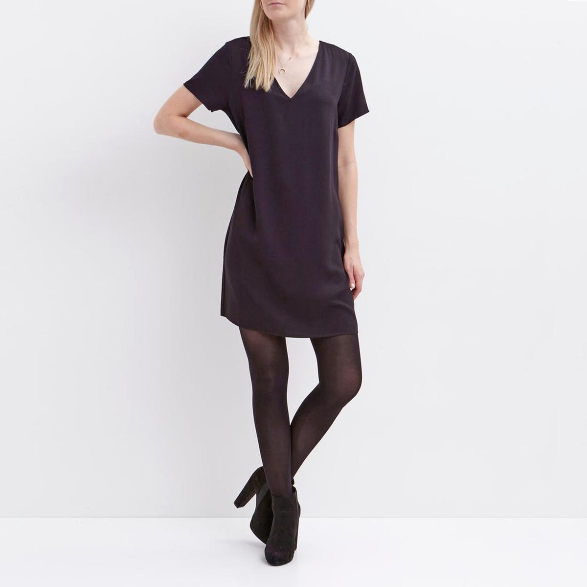 Платье прямое с короткими рукавами и V-образным вырезом сзадиМатериал : 100% вискоза  Длина рукава : короткие рукава  Форма воротника : V-образный вырез Покрой платья : платье прямого покроя    Рисунок : однотонная модель   Длина платья : до колен<br><br>Цвет: черный<br>Размер: M