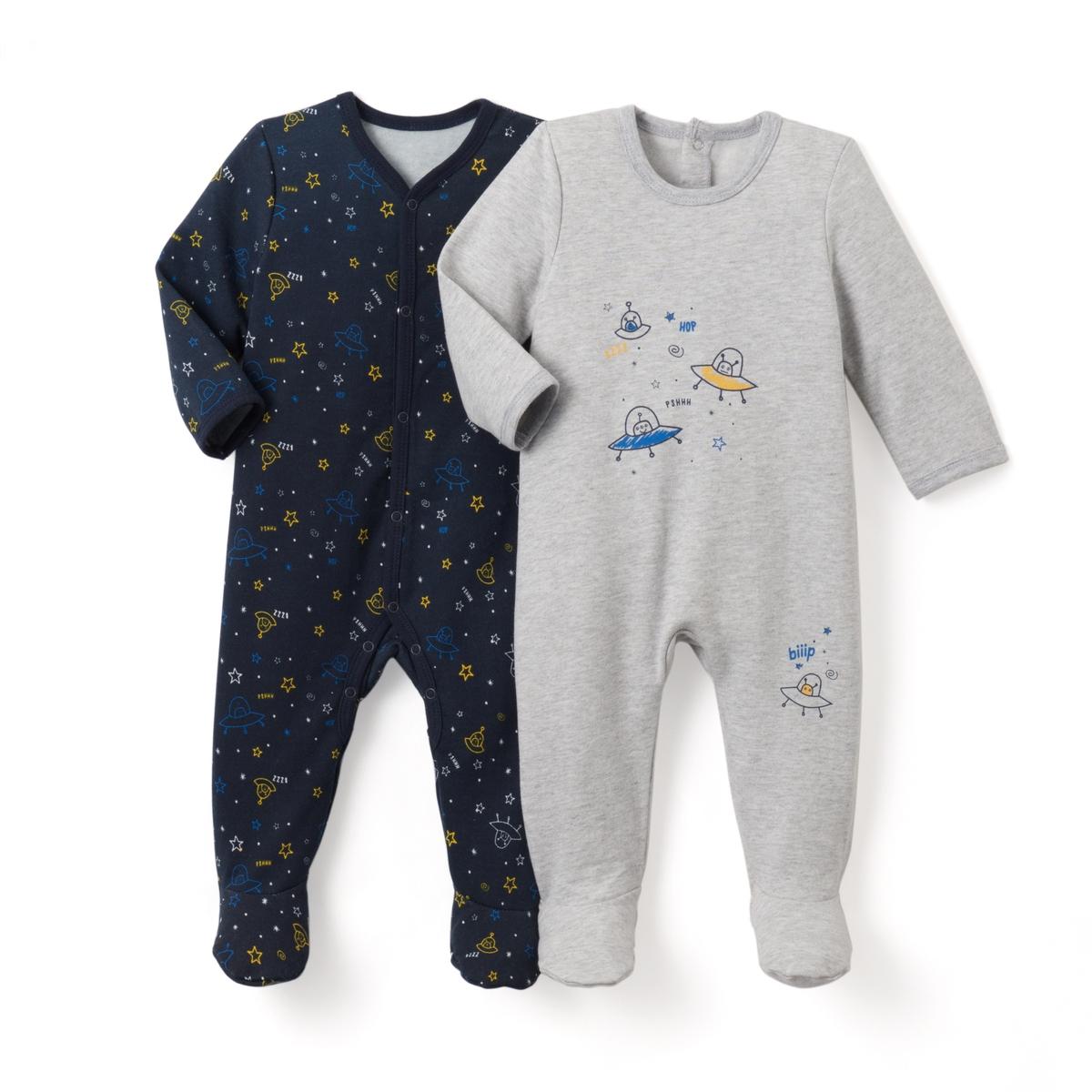 2 пижамы из мольтона с рисунком, 0 мес.- 3 лет