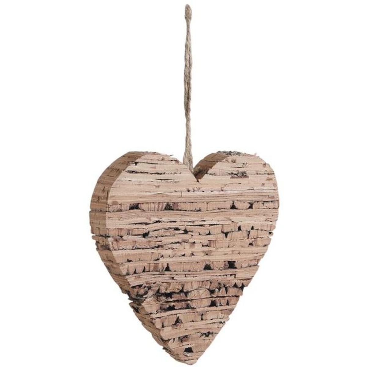 Décoration coeur à suspendre en bouleau