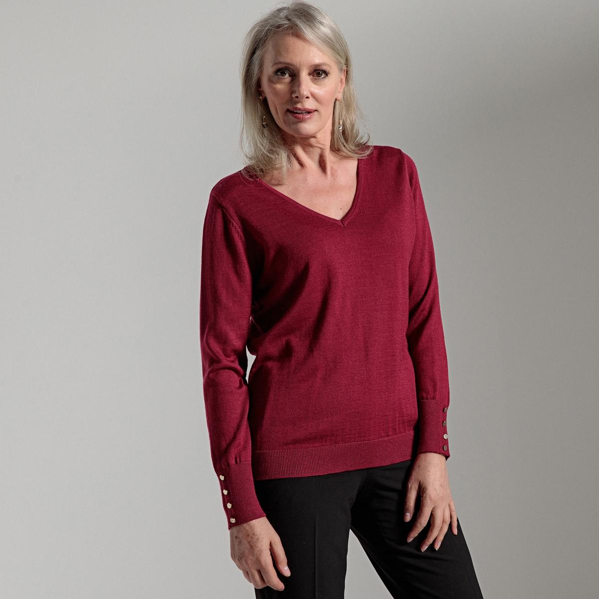 купить Пуловер с V-образным вырезом из полушерстяного тонкого трикотажа по цене 2639.2 рублей