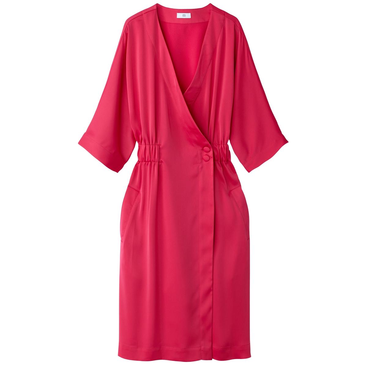 Фото - Платье LaRedoute С запахом с эластичным поясом 34 (FR) - 40 (RUS) розовый платье laredoute с запахом с рисунком 34 fr 40 rus синий