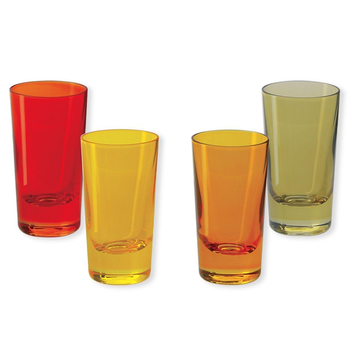 Verres à shooter en verre jaune 6cl - Lot de 4 - KADOR