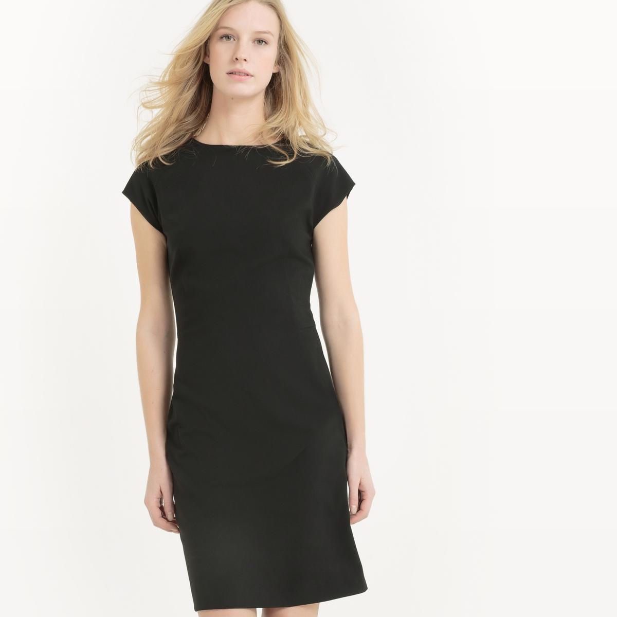 Платье пиджачного кроя с короткими рукавамиПлатье-костюм. короткие рукава. Круглый вырез. Вырез-капелька сзади. Скрытая застежка на молнию.                        Состав и описание                                          Материал: 64% полиэстера, 32% вискозы, 4% эластана                   Длина: 95 см.                                          Уход                   Машинная стирка при 30 °С в деликатном режиме                   Сухая чистка и отбеливание запрещены                   Машинная сушка запрещена                   Гладить при низкой температуре<br><br>Цвет: серый меланж,синий морской,черный<br>Размер: 50 (FR) - 56 (RUS).46 (FR) - 52 (RUS).40 (FR) - 46 (RUS).40 (FR) - 46 (RUS).36 (FR) - 42 (RUS)