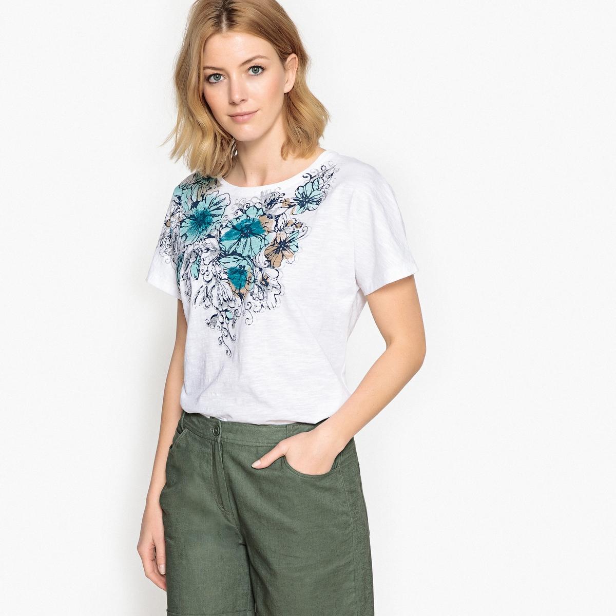 T-shirt estampada, puro algodão
