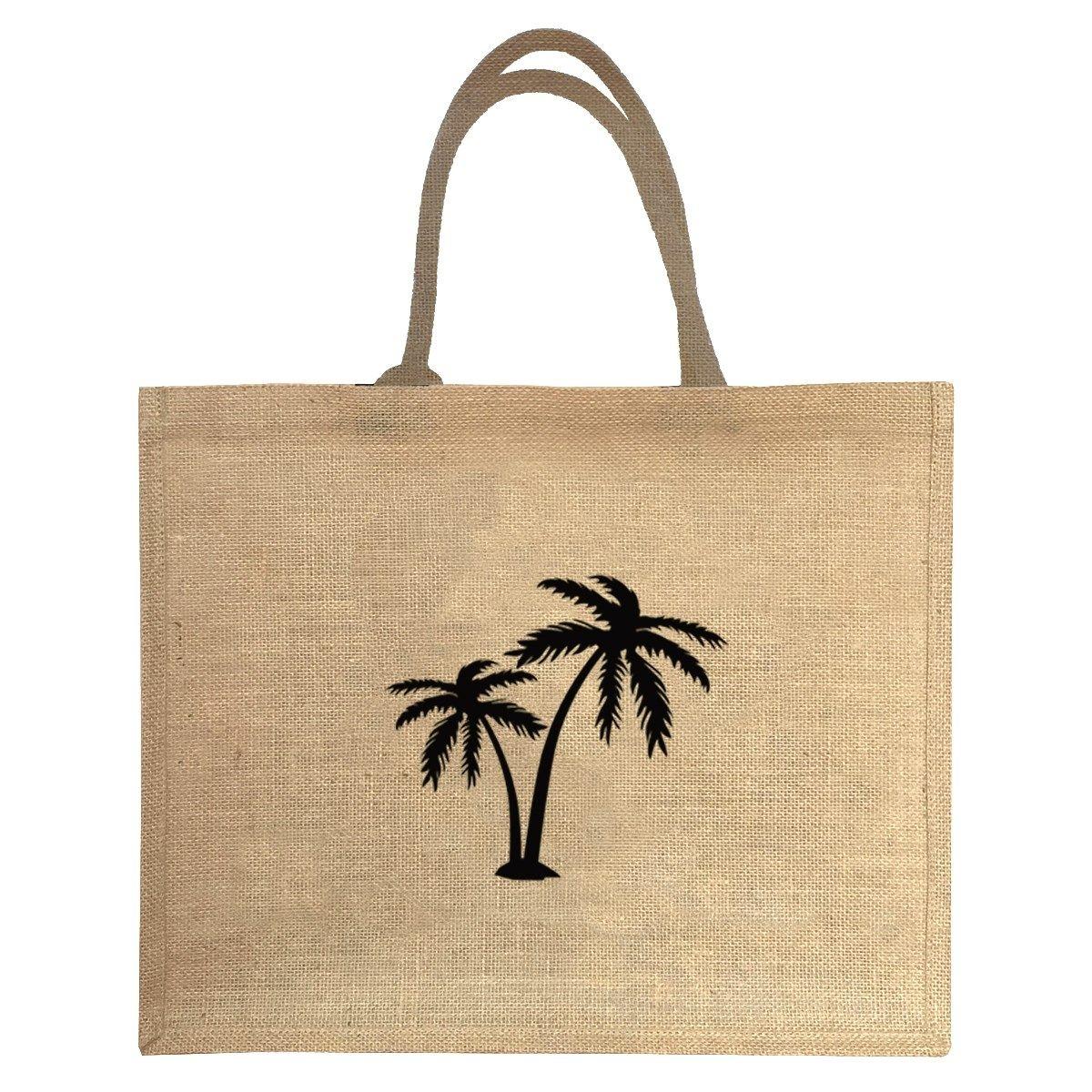 Sac cabas en jute motif palmier noir