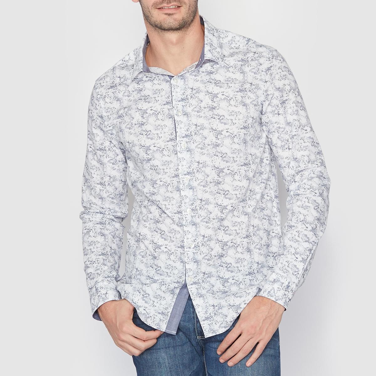 Рубашка с рисункомСостав и описаниеМатериал : 97% хлопка, 3% эластана.    Марка : SOFT GREY.<br><br>Цвет: наб. рисунок синий<br>Размер: 45/46