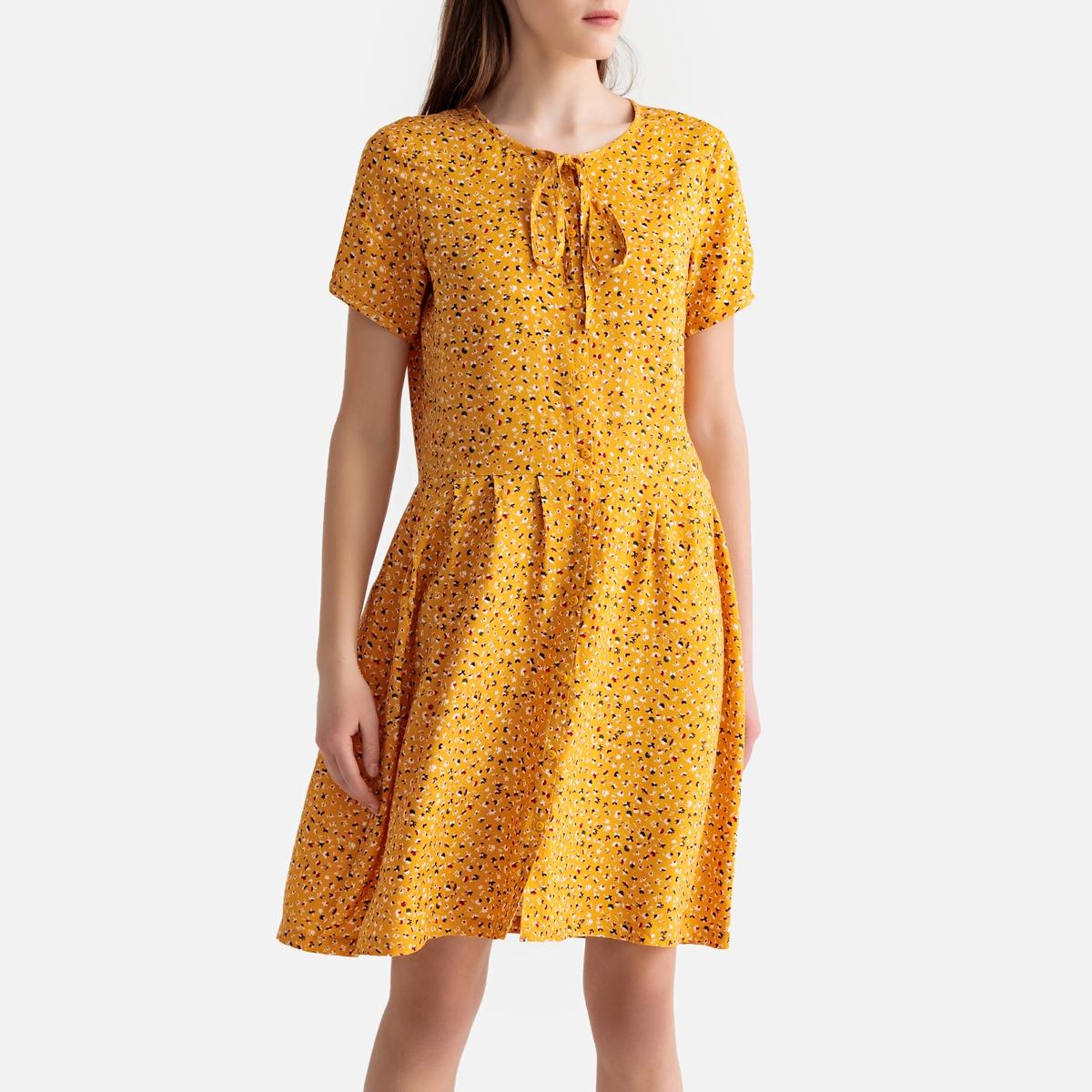Платье La Redoute Короткое расклешенное с графическим рисунком S оранжевый платье короткое с графическим рисунком без рукавов