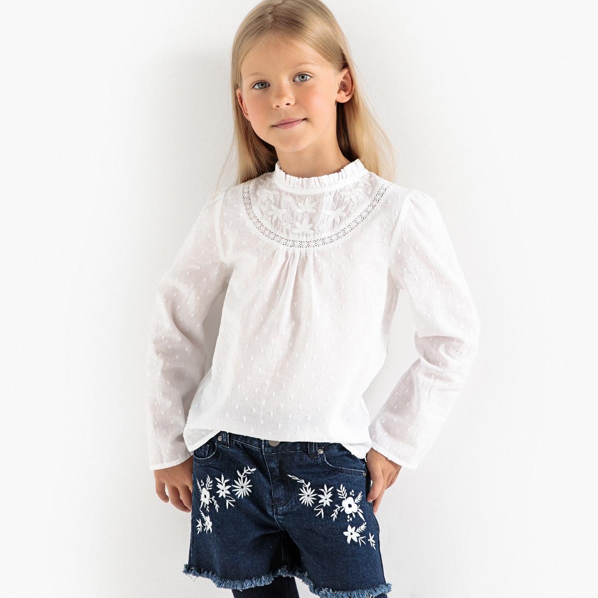 Блузка из расшитой гладью ткани с вышивкой, 3-12 лет