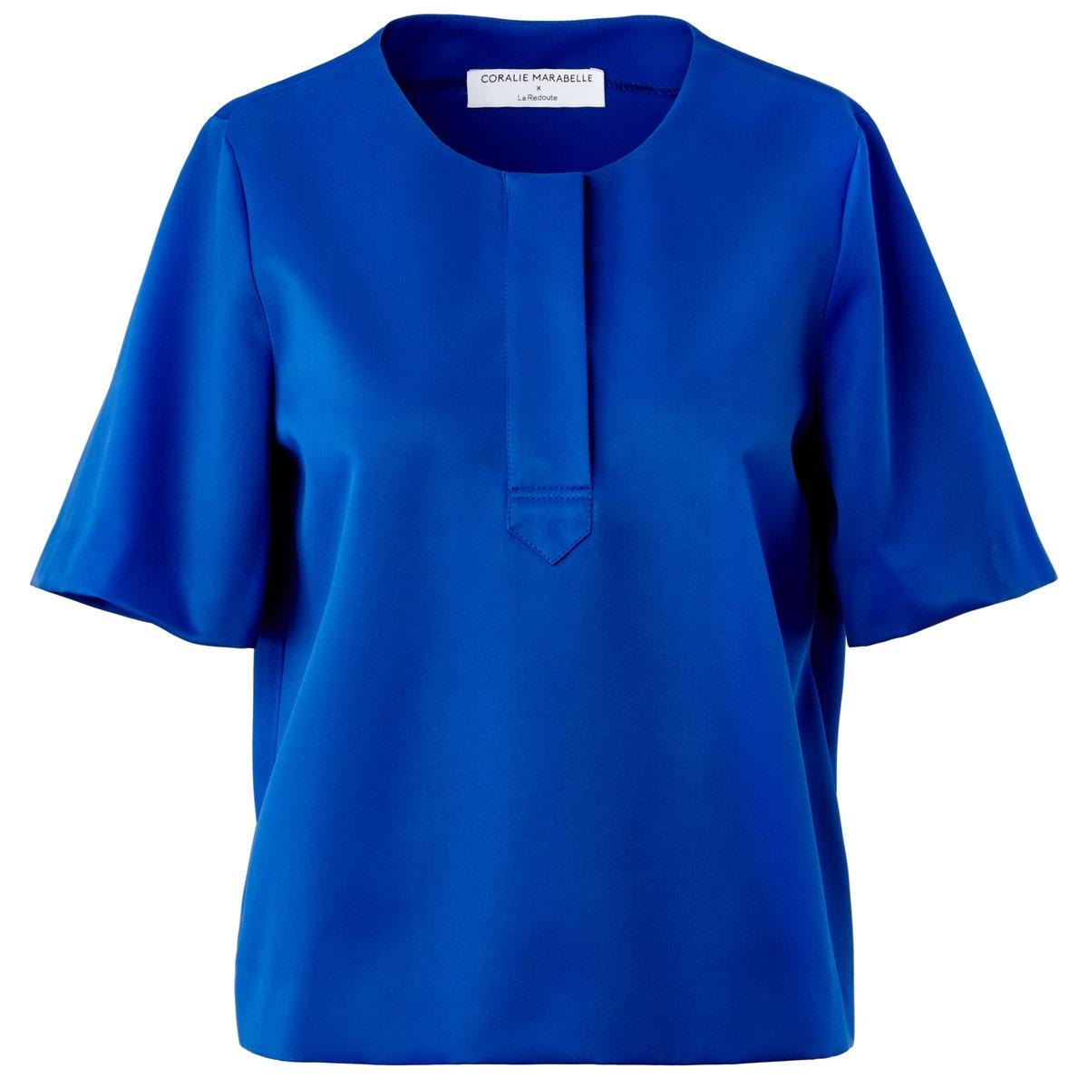 Блузка с короткими рукавамиБлузка из 100% полиэстера. Круглый воротник, планка поло. Короткие рукава. Длина 54 см.<br><br>Цвет: черный<br>Размер: 34 (FR) - 40 (RUS)