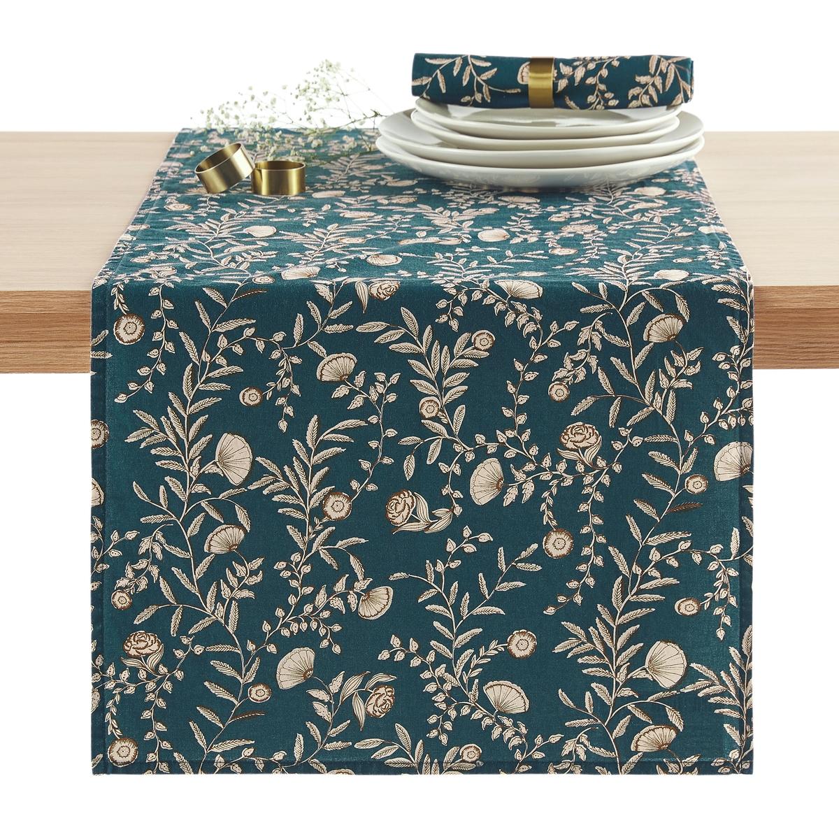 цена на Дорожка La Redoute Столовая из стираного хлопка Vimala 45 x 150 см синий