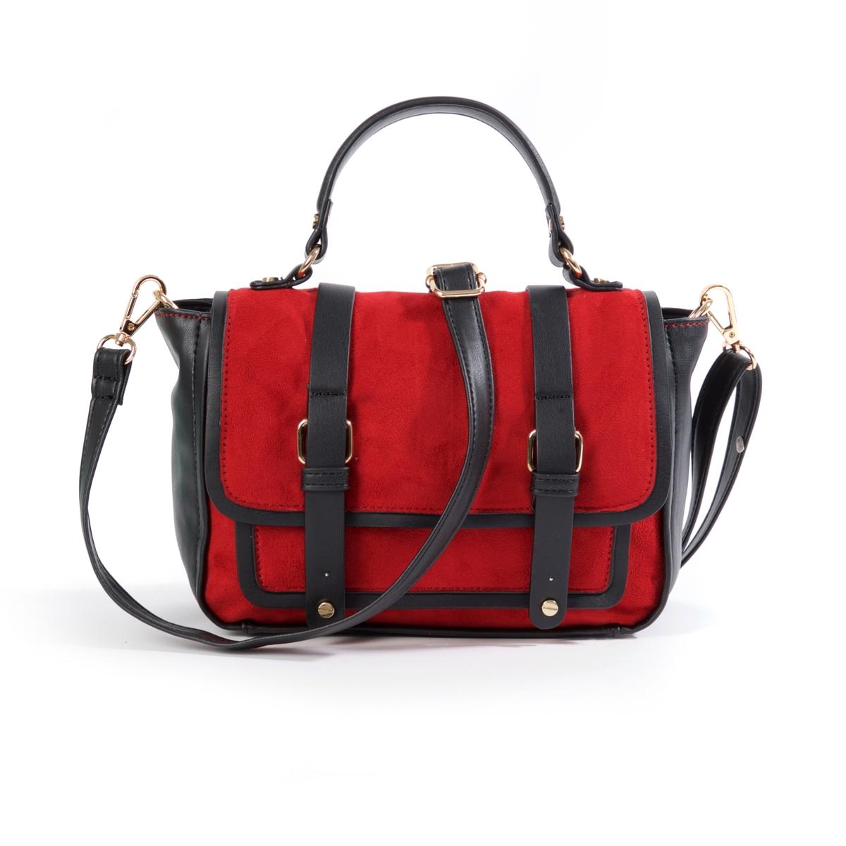Сумка-портфельМодная и практичная сумка-портфель, двухцветная модель: незаменима в новом учебном году!Состав и описание : Материал : верх из синтетики             подкладка из текстиля Размеры : 23 x 19 x 9 смЗастежка : кнопка на магните и молния1 внешний карман спереди2 кармана для мобильных и 1 внутренний карман на молнииСъемный и регулируемый ремешок<br><br>Цвет: красный<br>Размер: единый размер