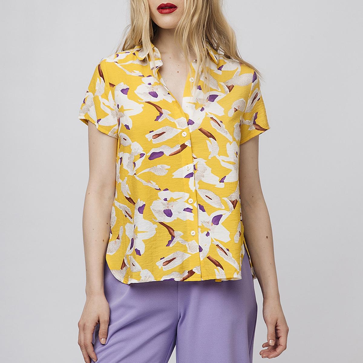 цена Блузка La Redoute С рисунком и короткими рукавами XL желтый онлайн в 2017 году
