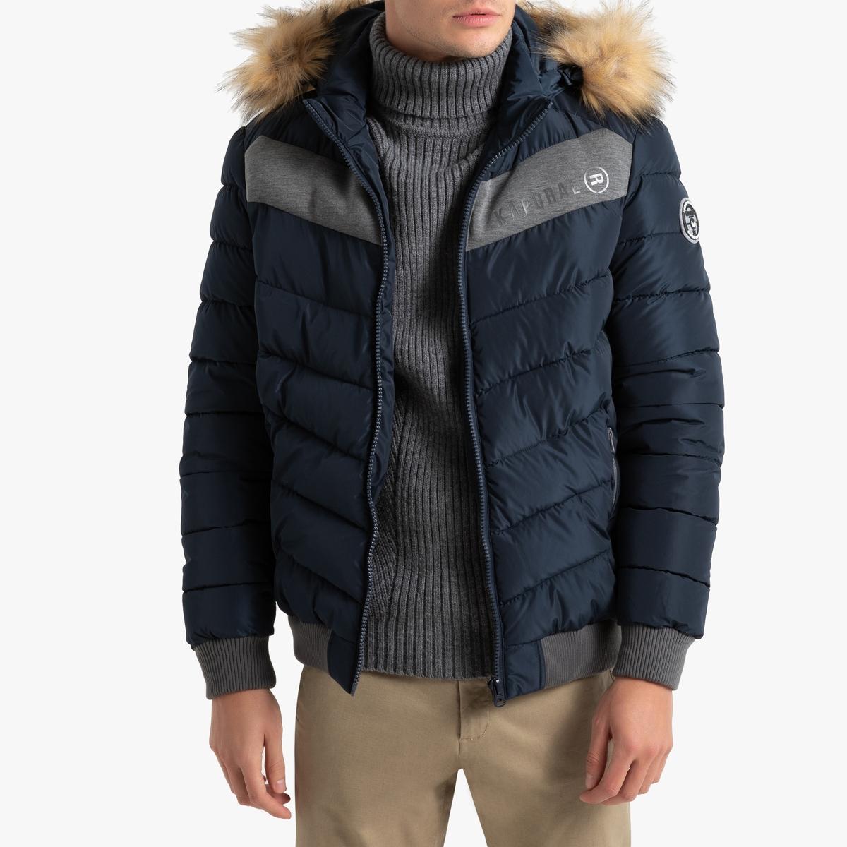 Куртка LaRedoute Стеганая на молнии с капюшоном Geru S синий куртка la redoute стеганая на молнии с капюшоном idaho 2 3xl синий