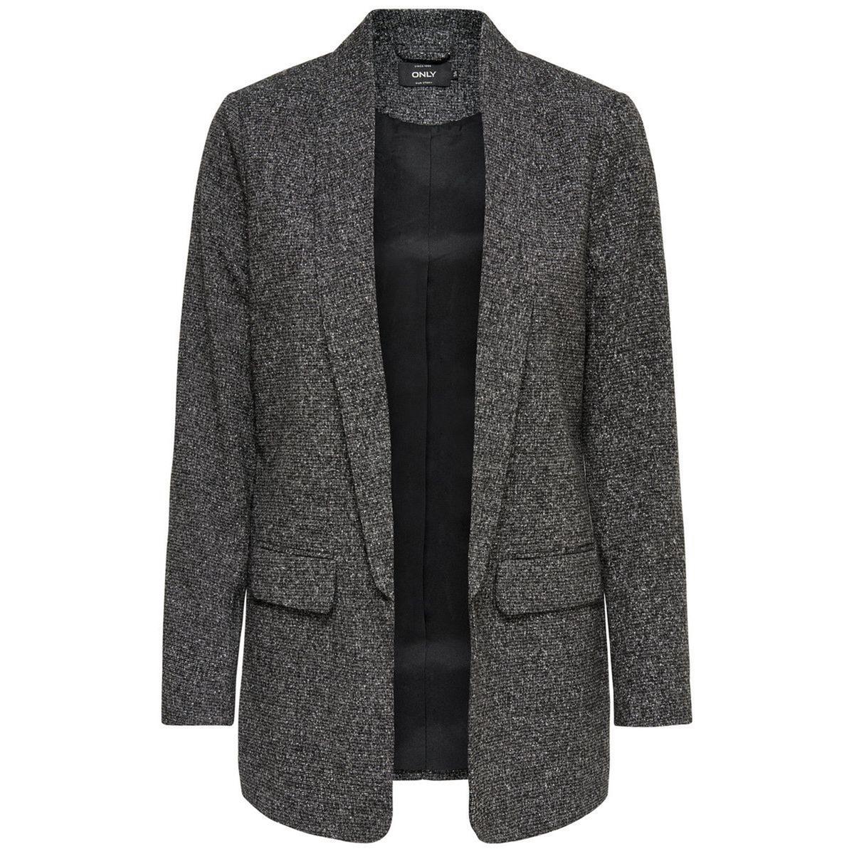 Куртка-бойфренд свободнаяДетали •  Просторная •  Покрой бойфренд, свободный •  Шалевый воротникСостав и уход •  15% вискозы, 4% шерсти, 81% полиэстера •  Следуйте советам по уходу, указанным на этикетке<br><br>Цвет: темно-серый меланж