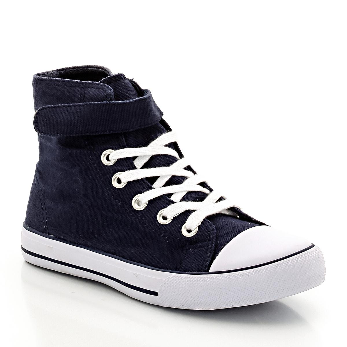 Кеды из тканиДетали  •  Кеды высокие •  Спортивный стиль •  Плоский каблук •  Застежка : шнуровка •  Гладкая отделкаСостав и уход   • Верх 100% хлопок<br><br>Цвет: темно-синий<br>Размер: 26.36.31.28.32.29