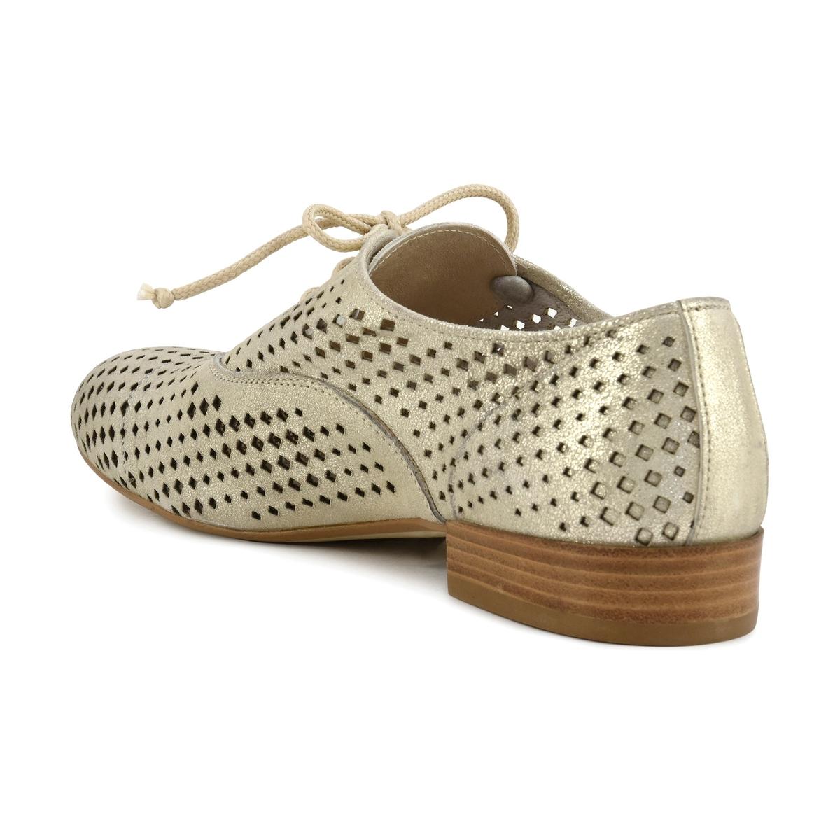 Дерби кожаные ажурные EB241Верх : Кожа  Подкладка : Кожа  Стелька : синтетика   Подошва : синтетика   Форма каблука : плоский каблук   Носок : закругленный   Застежка : шнуровка<br><br>Цвет: Платиновый