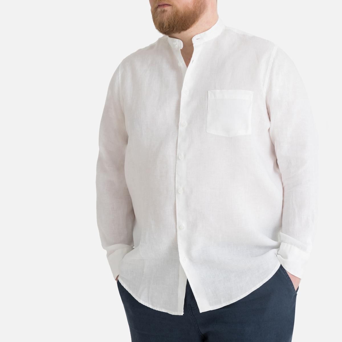 Рубашка La Redoute Однотонная с длинными рукавами из льна 49/50 белый