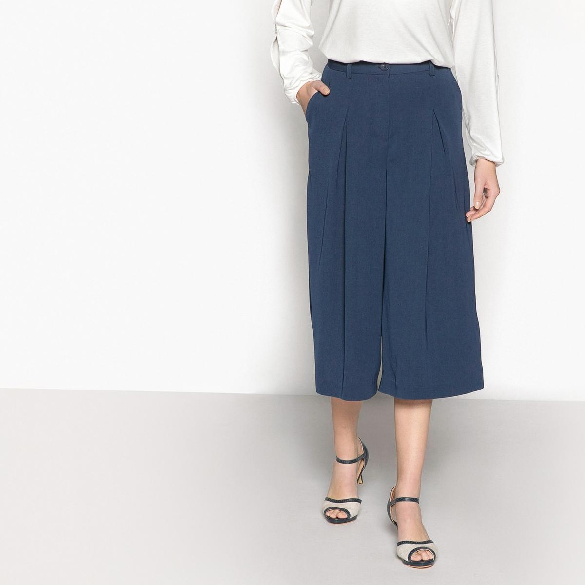 Юбка-брюки широкая из саржи стретч