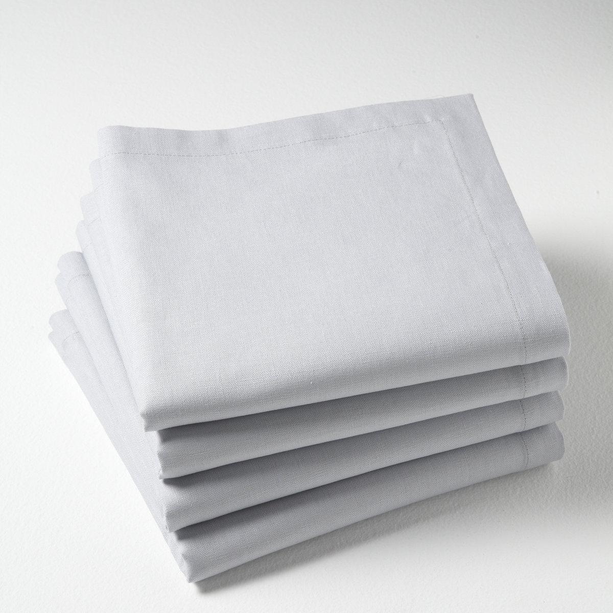 4 салфетки55% льна, 45% хлопка. 45 х 45 см. Элегантная простота! Красивая отделка краев.  Ширина каймы 2,5 см.Смесовая ткань, 55% льна, 45% хлопка. Стирка при 40°.<br><br>Цвет: бежевый,белый,светло-серый<br>Размер: 45 x 45  см.45 x 45  см