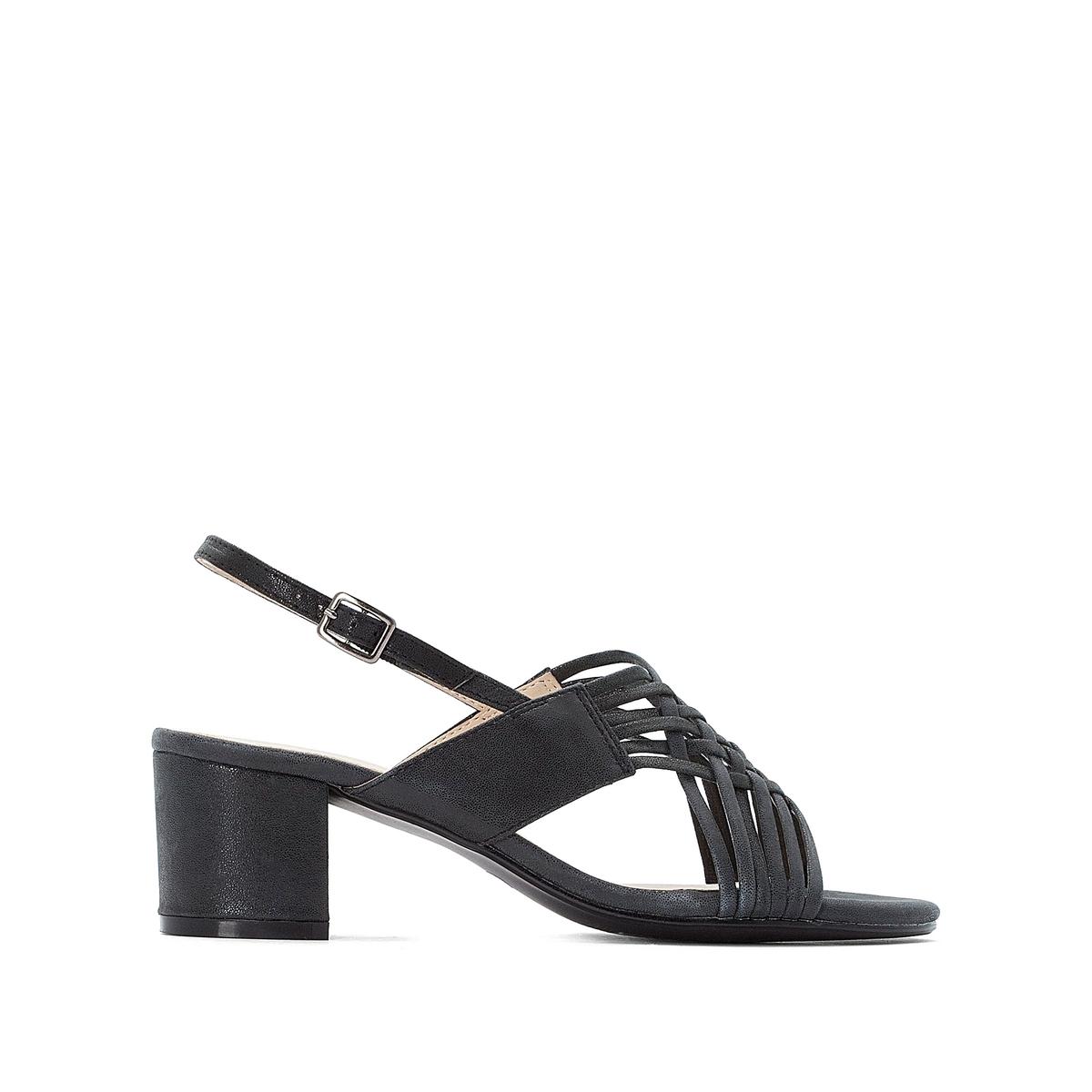 цена Босоножки La Redoute С ремешком на широком каблуке 45 серый онлайн в 2017 году