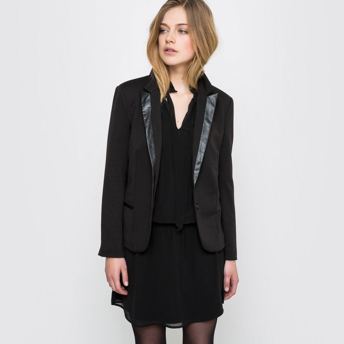 Пиджак-смокинг из плотного трикотажа и искусственной кожи