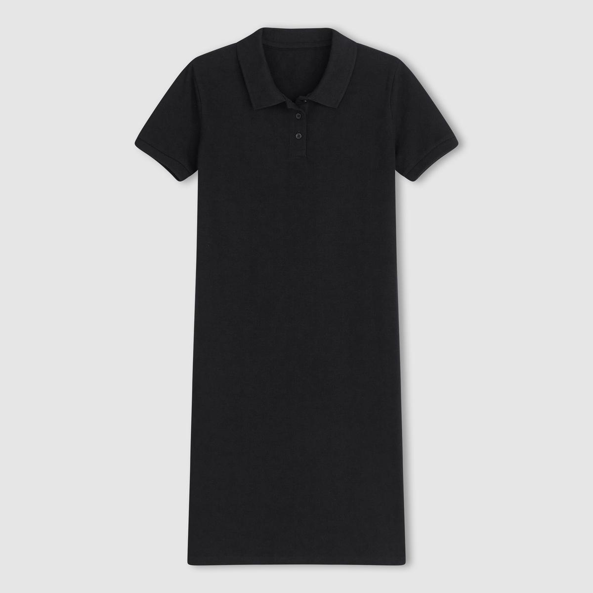 Платье с воротником полоСостав и описание Материал : 100% хлопка Длина : 91 см Марка : R essentiels<br><br>Цвет: черный