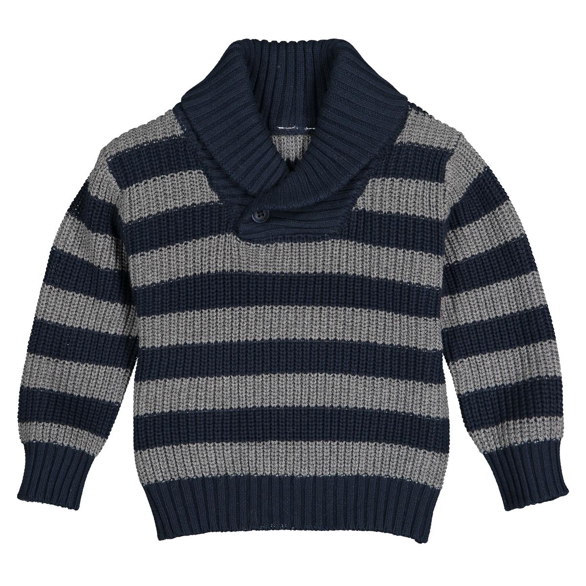Пуловер La Redoute С шалевым воротником в полоску мес- года 1 мес. - 54 см синий блузка la redoute с отложным воротником с вышивкой мес года 1 мес 54 см красный
