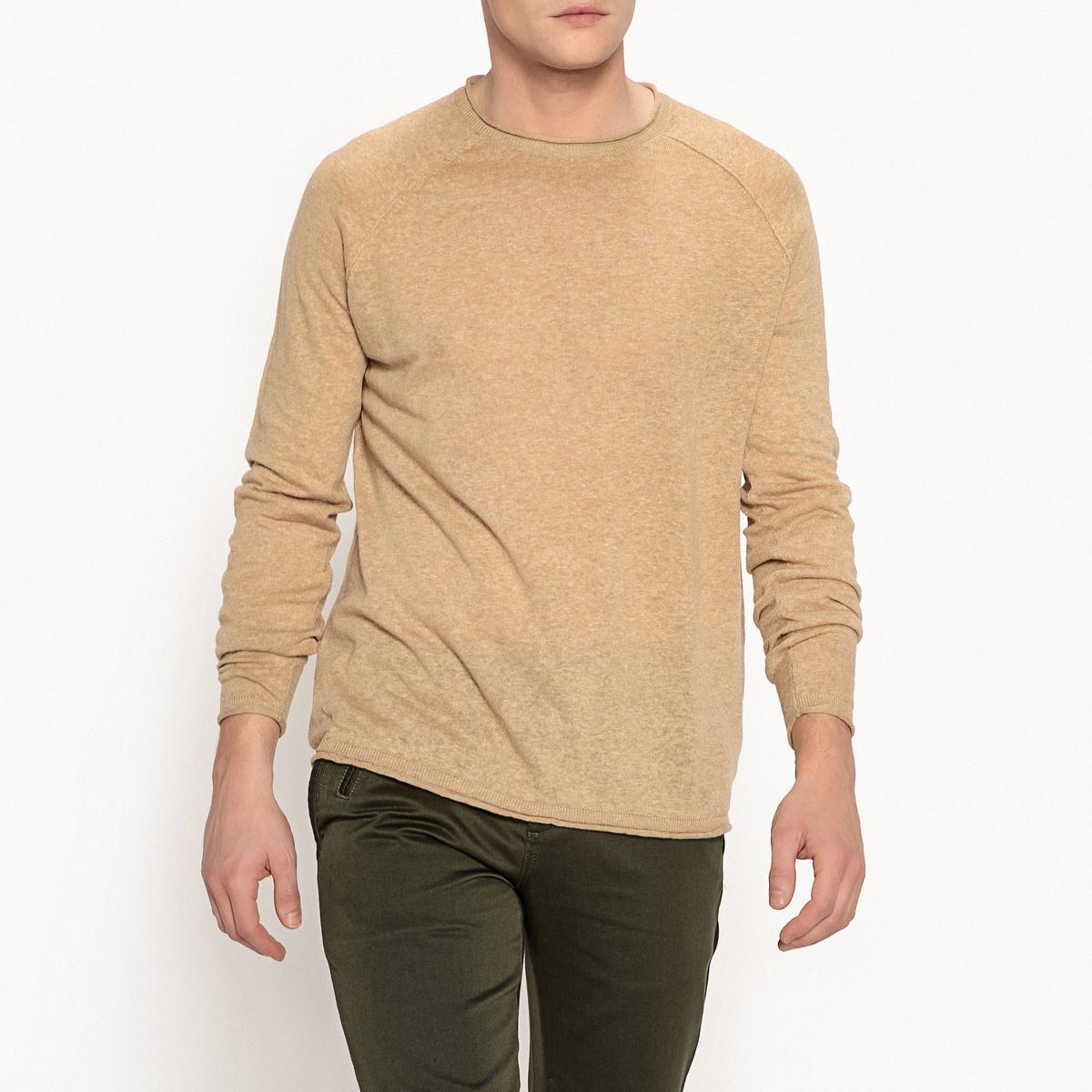 Пуловер с круглым вырезом и рукавами-реглан из хлопка и льна