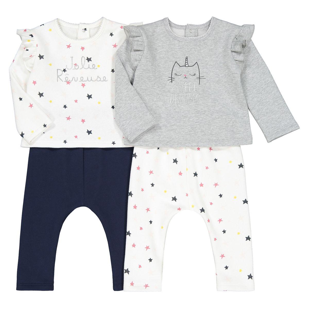 Lot de 2 pyjamas 2 pièces en molleton 1 mois-4 ans