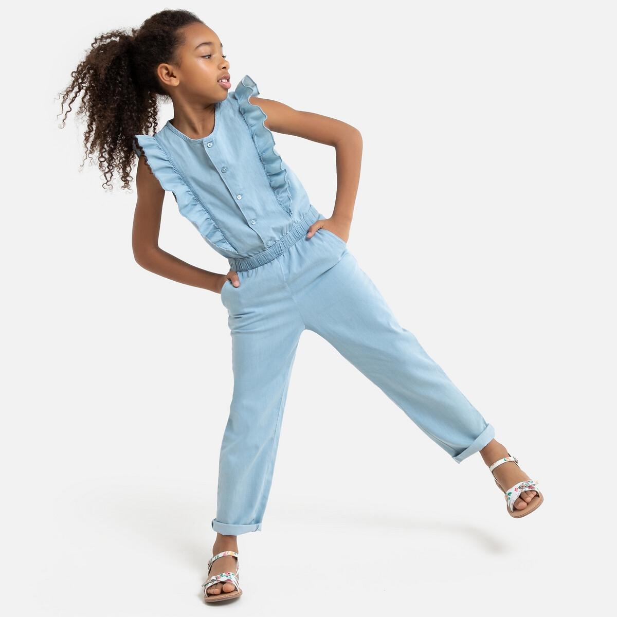 Комбинезон LaRedoute Из тонкой джинсовой ткани 3-12 лет 5 лет - 108 см синий жакет la redoute из джинсовой ткани 3 14 лет 5 лет 108 см синий