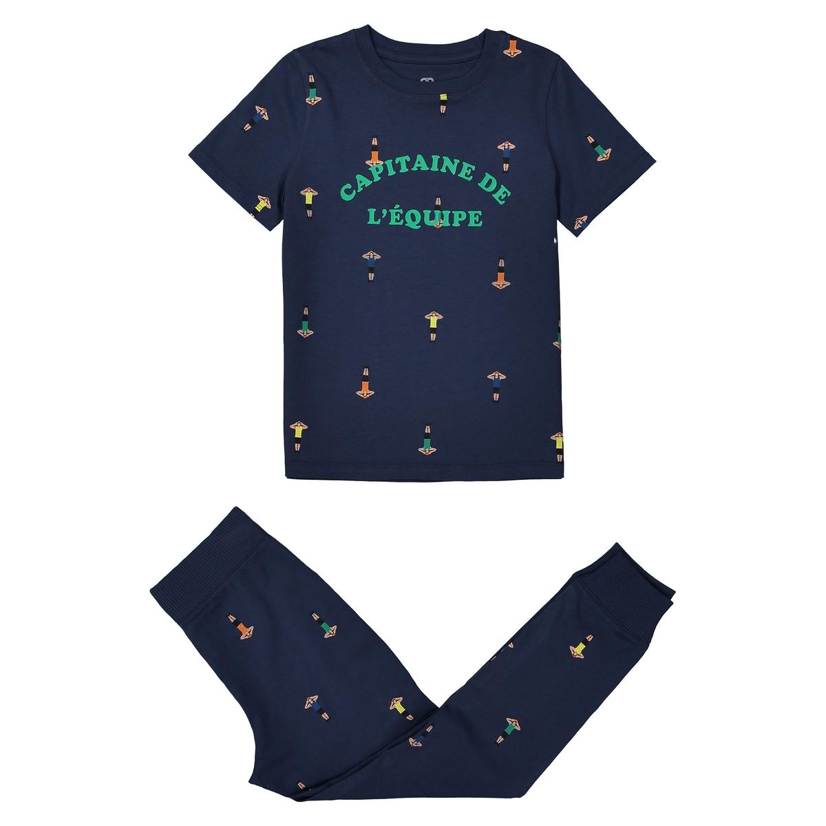 Pijama estampado em algodão, 2-12 anos