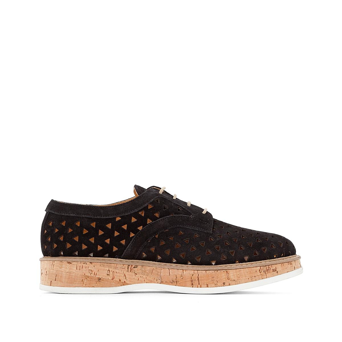 Ботинки-дерби на платформе из ажурной велюровой кожи, Malou ботинки дерби из мягкой кожи takarika