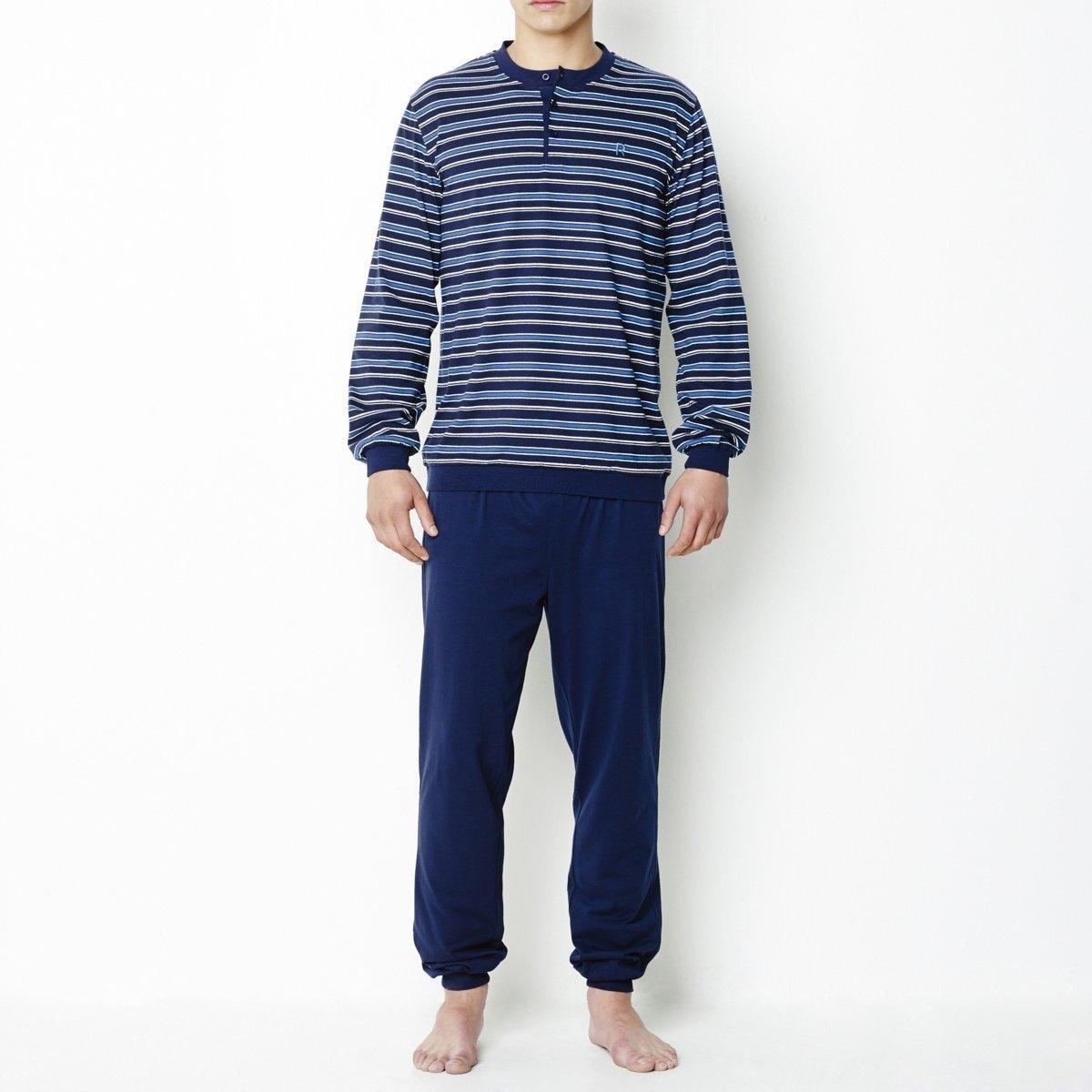 ПижамаДжерси, 100% хлопка. Футболка в полоску с длинными рукавами. Вырез с планкой застежки на 3 пуговицы. Однотонные брюки с эластичным поясом, низ брючин связан в рубчик.<br><br>Цвет: в полоску серый/серый,темно-синий в полоску<br>Размер: S.L