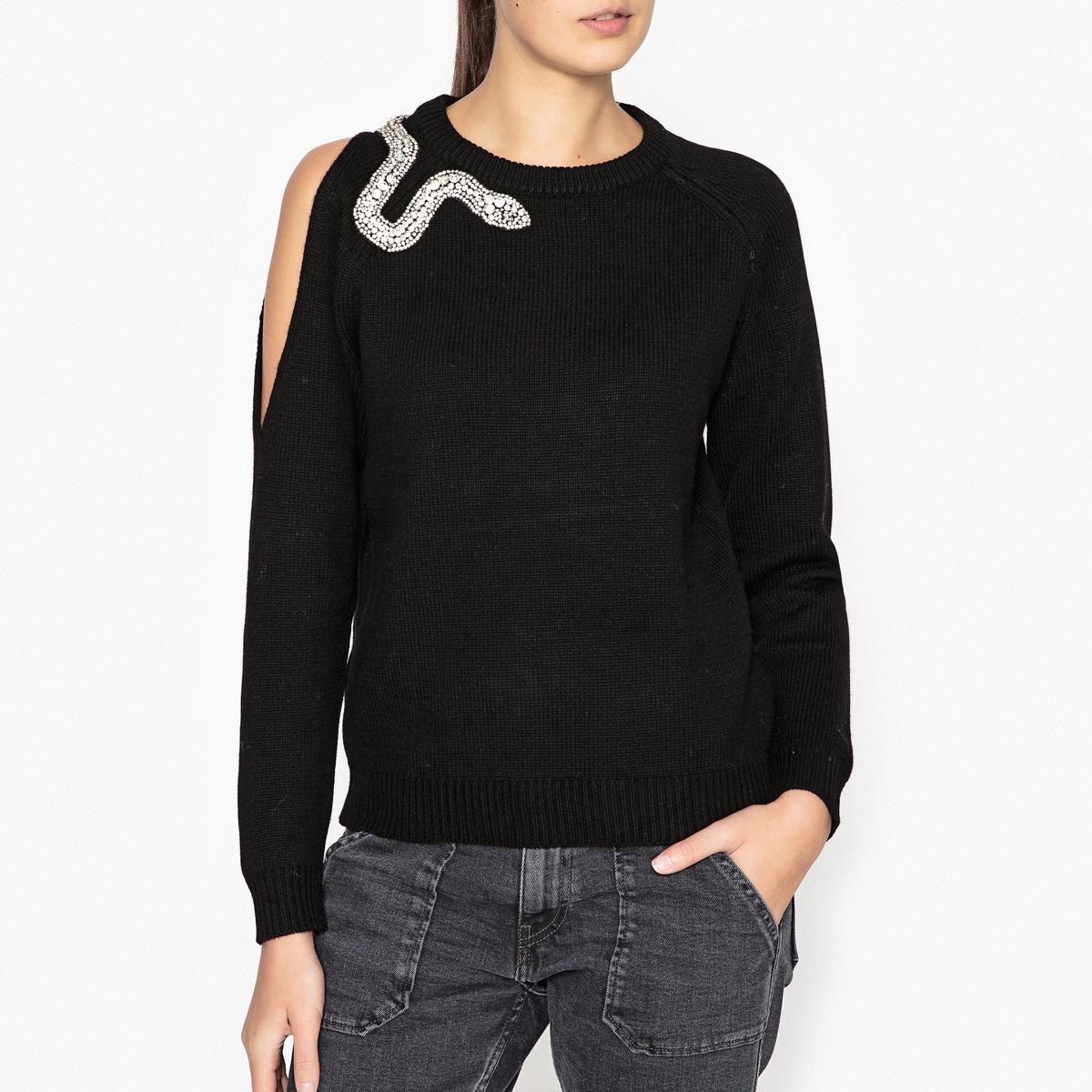 Пуловер с открытым плечом OSSIEОписание:Пуловер с длинными рукавами BA&amp;SH - модель OSSIE с открытым плечом и декоративным украшением.Детали •  Длинные рукава •  Круглый вырез •  Тонкий трикотаж Состав и уход •  90% шерсти, 10% кашемира •  Следуйте советам по уходу, указанным на этикетке<br><br>Цвет: черный