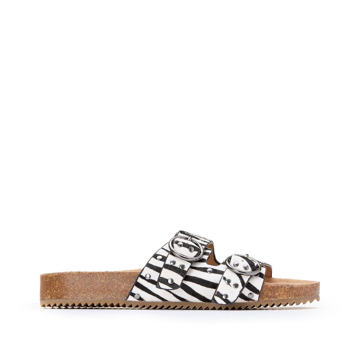Туфли La Redoute Без задника из кожи с принтом зебра 41 синий