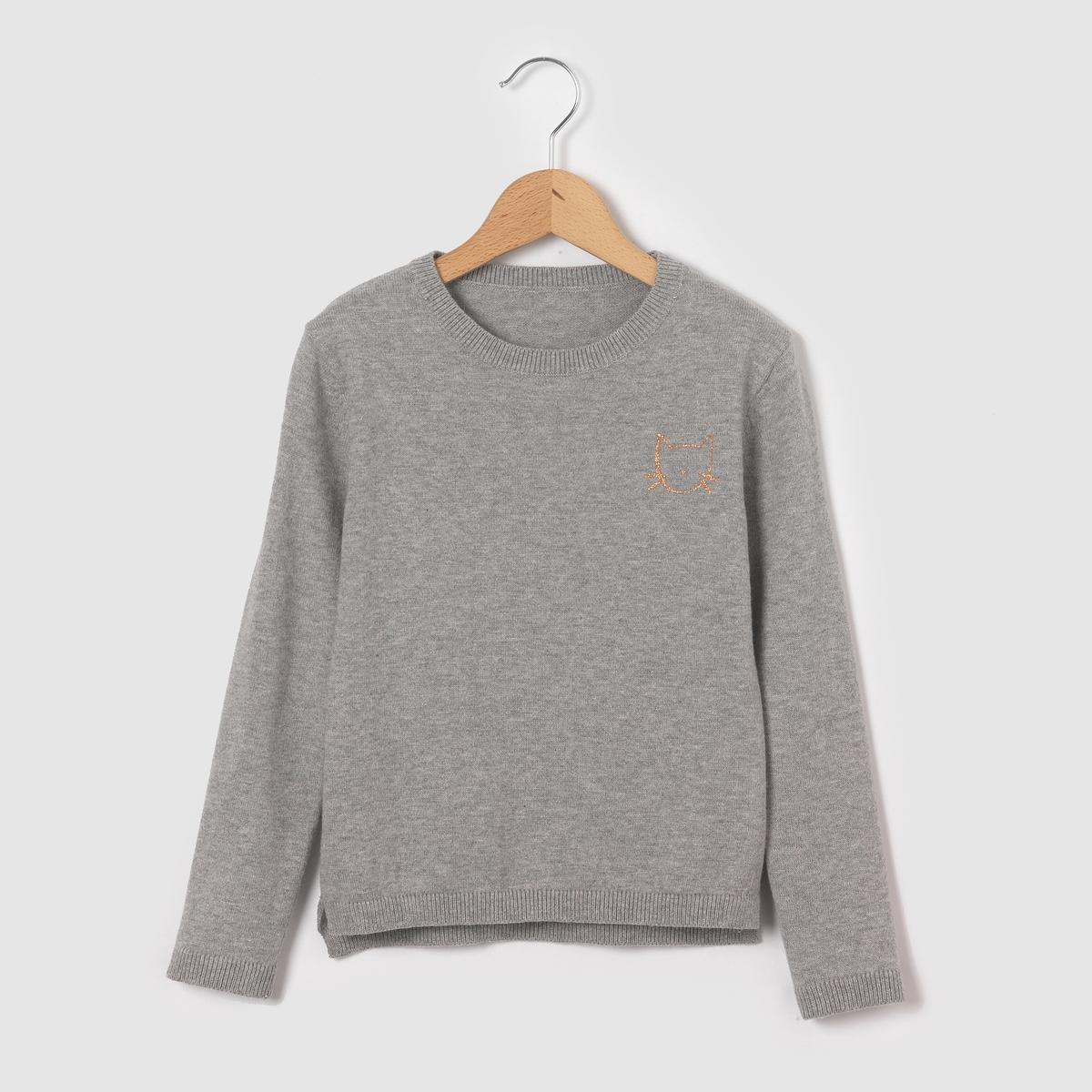 Пуловер теплый с принтом голова кота 3-12 лет