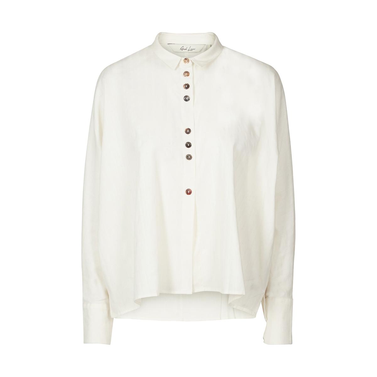 Рубашка однотонная с воротником-поло и длинными рукавамиДетали •  Длинные рукава •  Прямой покрой  •  Воротник-поло, рубашечный Состав и уход •  100% хлопок  •  Следуйте советам по уходу, указанным на этикетке<br><br>Цвет: белый