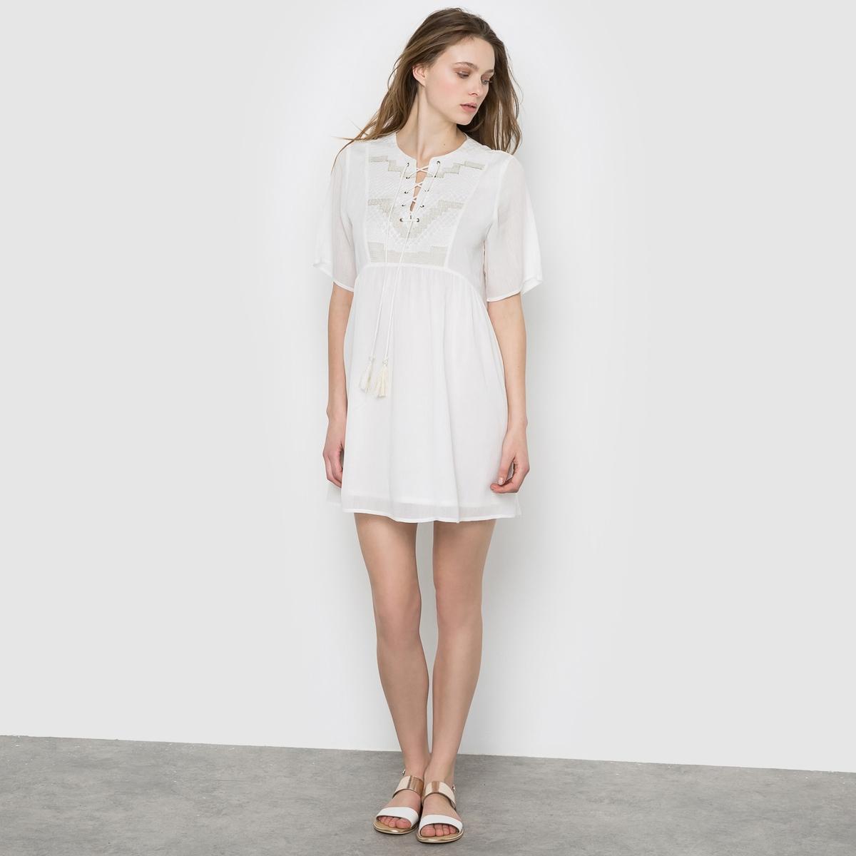 Платье с рукавами 3/4, вышитая манишка платье с рукавами 3 4 roncier