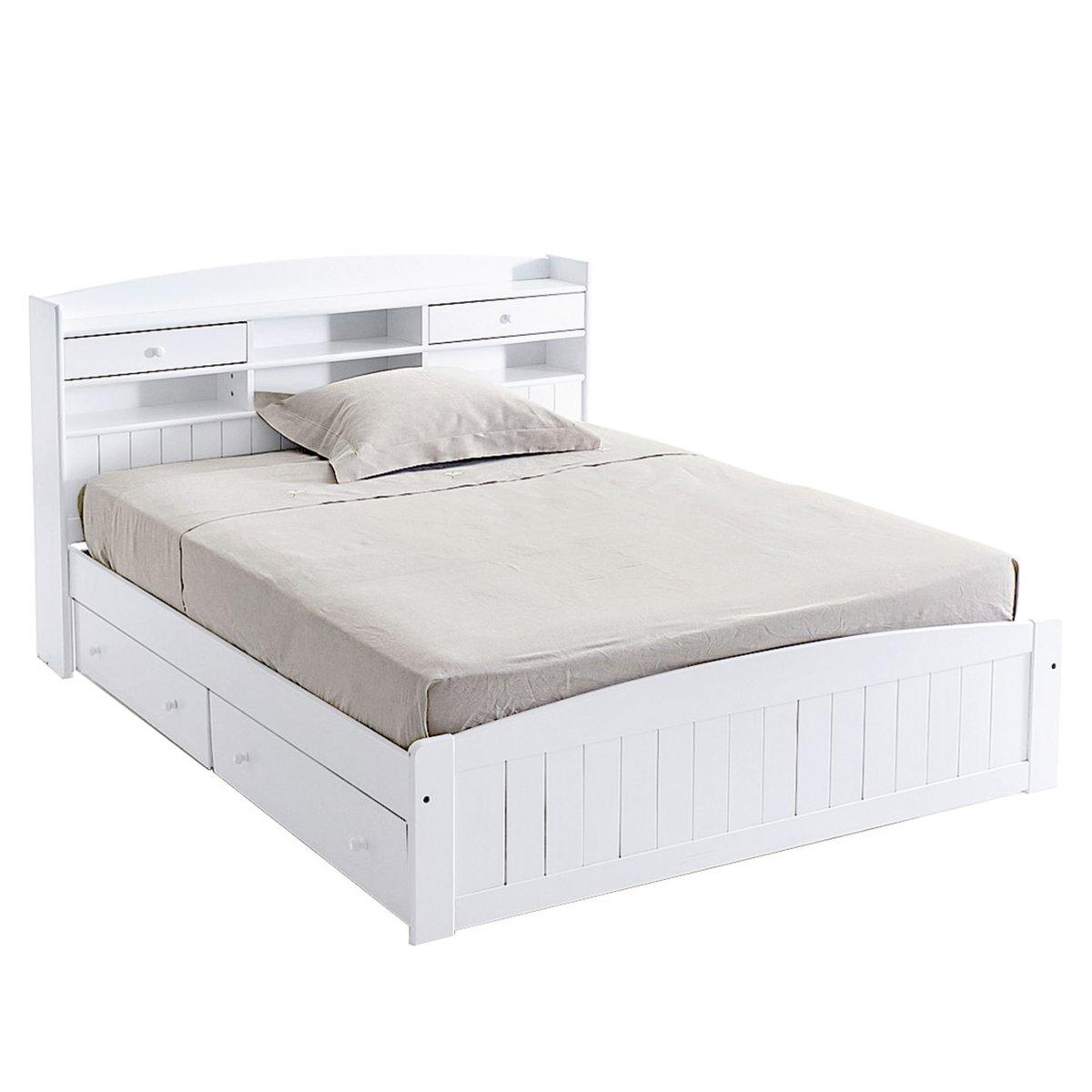 Кровать La Redoute С изголовьем Grimsby из массива сосны 160 x 200 см белый цены
