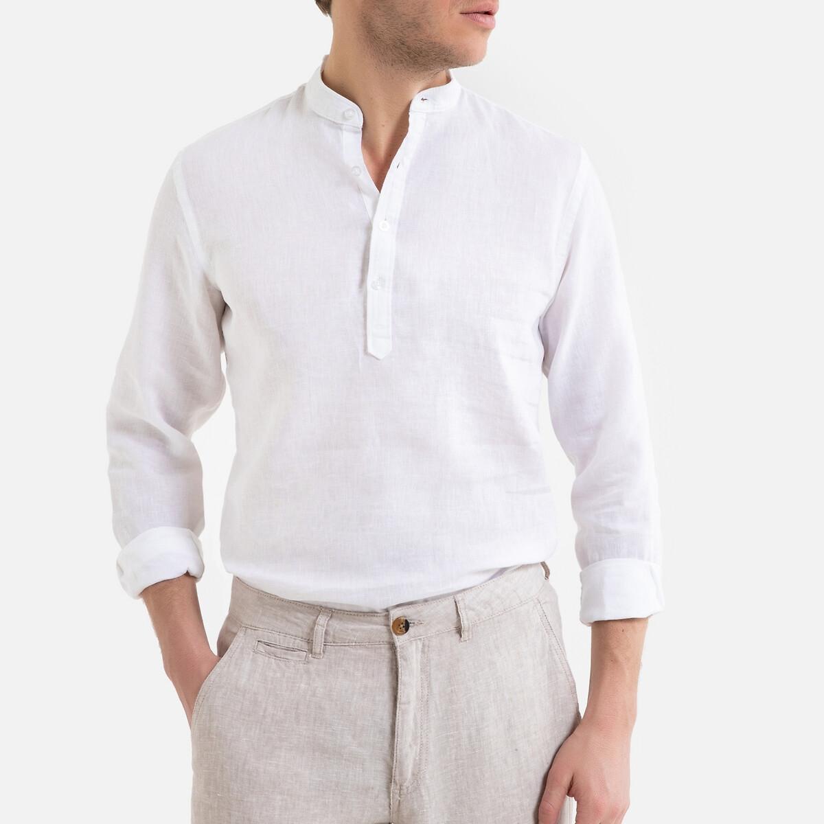 Camisa recta con cuello mao, manga larga