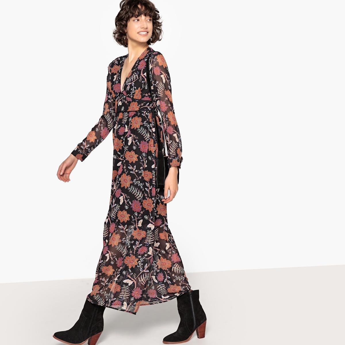Платье La Redoute Длинное с цветочным рисунком V-образным вырезом и длинными рукавами XS черный юбка la redoute короткая расклешенная с цветочным рисунком и оборками на поясе xs бежевый