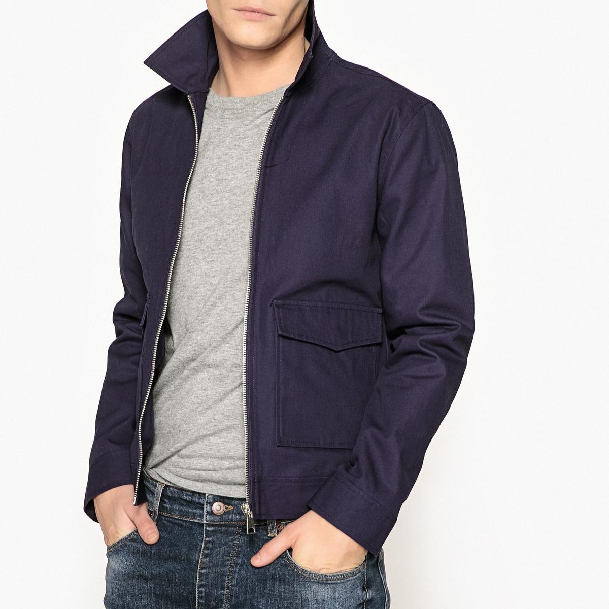Куртка на молнииОписание:Детали •  Длина : укороченная модель •  Воротник-поло, рубашечный •  Застежка на молниюСостав и уход •  100% хлопок •  Стирать при 40° •  Сухая чистка и отбеливание запрещены • Барабанная сушка на умеренном режиме • Средняя температура глажки  •  Длина : 67 см<br><br>Цвет: синий<br>Размер: S.3XL