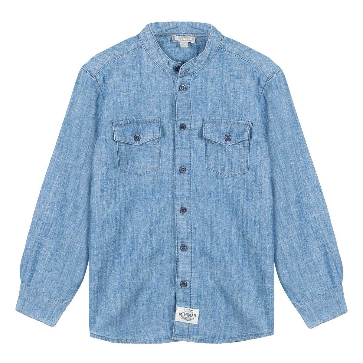 chemise manches longues en jean's col mao