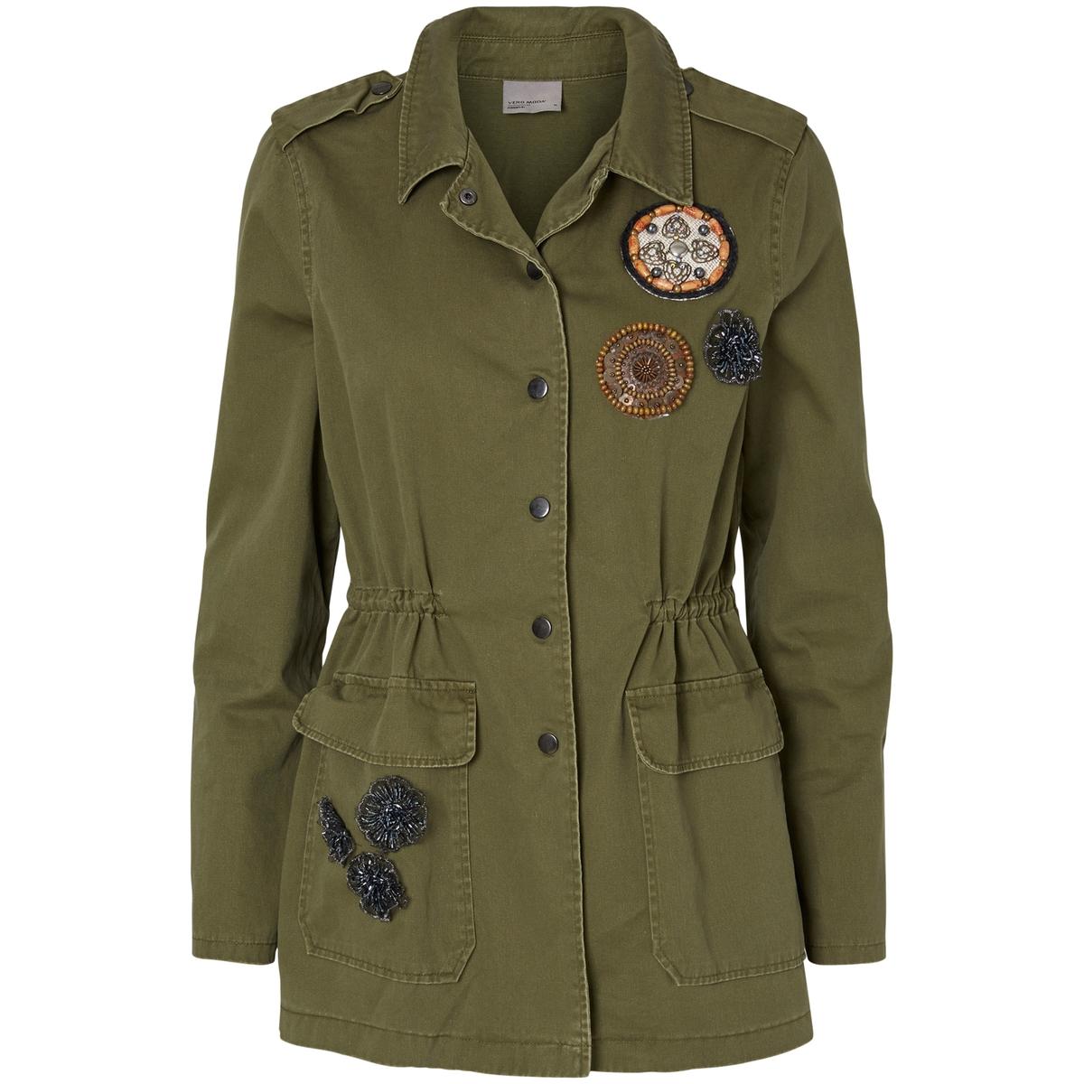 Куртка в стиле милитариМатериал : 100% хлопок Покрой : прямой Форма воротника : воротник-поло, рубашечный Тип куртки  : куртка в стиле милитариДлина куртки  : стандартная Рисунок : однотонная модель<br><br>Цвет: хаки<br>Размер: M