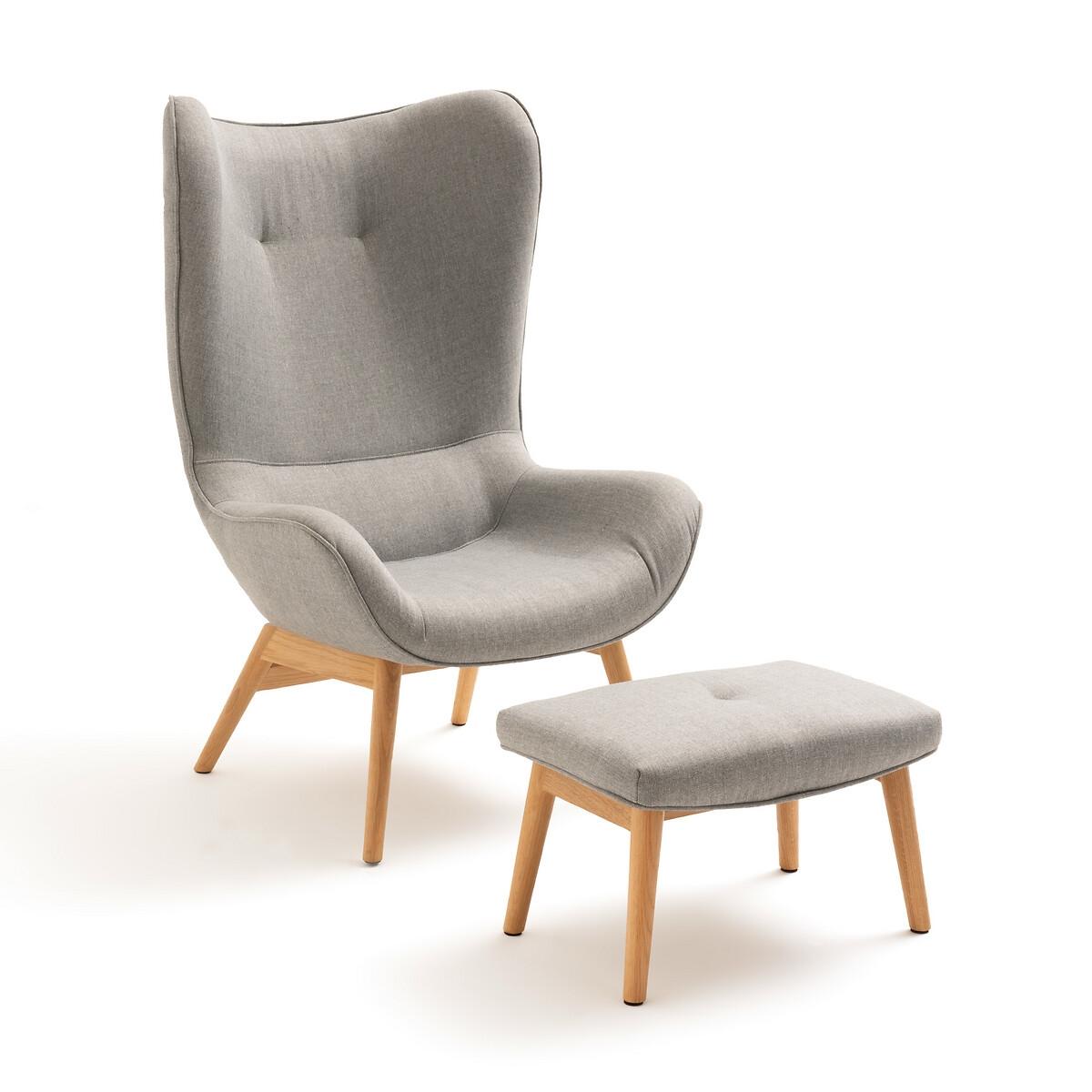 Кресло LaRedoute С загнутыми краями и подставкой для ног Crueso единый размер серый